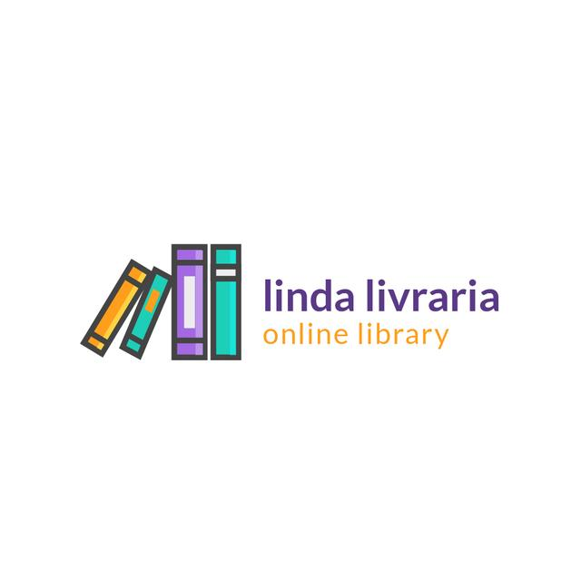 Online Library Ad with Books on Shelf Logo Modelo de Design