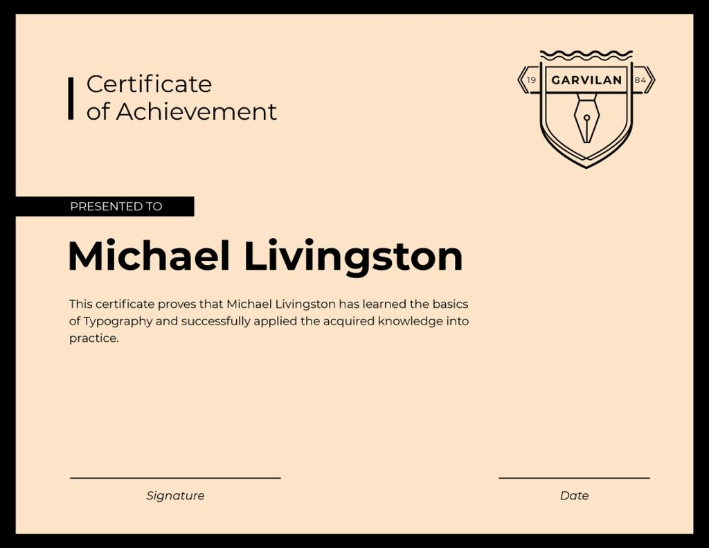 Typography Courses Achievement in pink — Créer un visuel
