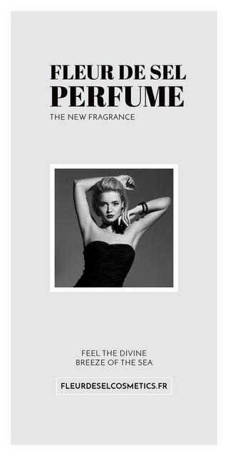 Perfume ad with Fashionable Woman in Black Graphic Design Template
