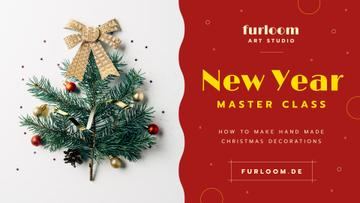 New Year Decoration Workshop Invitation | Facebook Event Cover Template