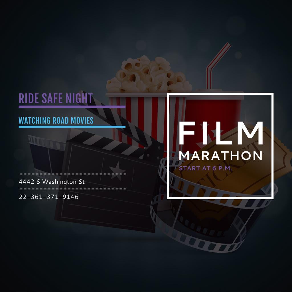 Film Marathon Night with popcorn — Maak een ontwerp