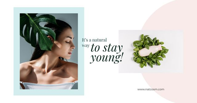 Beauty Tips Young Woman with Clear Skin Facebook AD Design Template