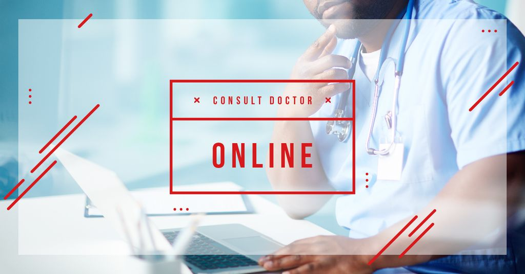Online Consultation Ad Thoughtful Doctor in Clinic | Facebook Ad Template — Modelo de projeto