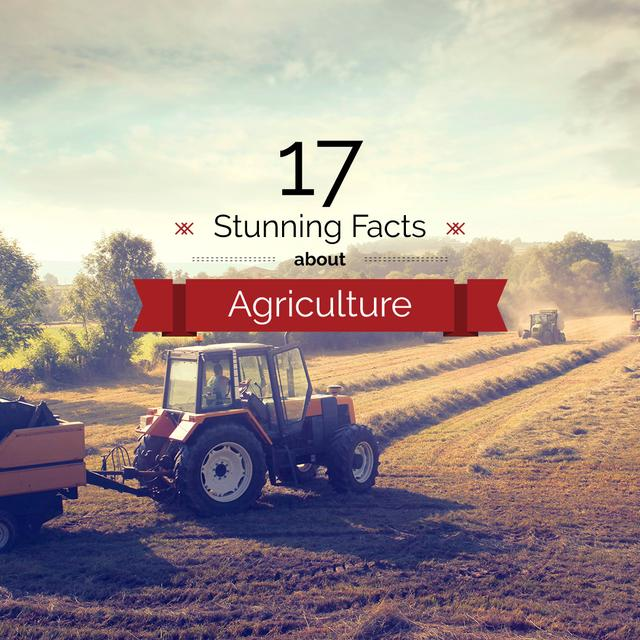 Agriculture Facts Tractor Working in Field Instagram AD Modelo de Design