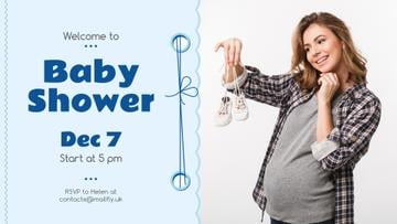 Baby Shower Invitation Happy Pregnant Woman
