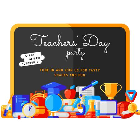 Teacher's Day Party Invitation with Stationery in Classroom Animated Postデザインテンプレート