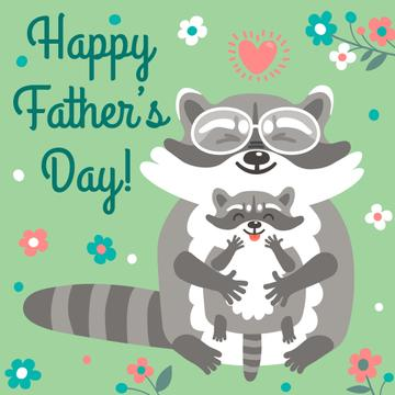 Happy father's day card with raccoons