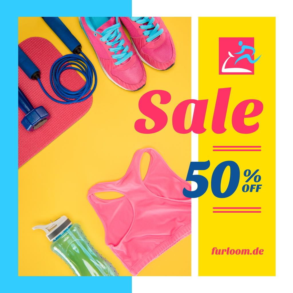 Fitness Ad with Sports Equipment in Pink — Create a Design