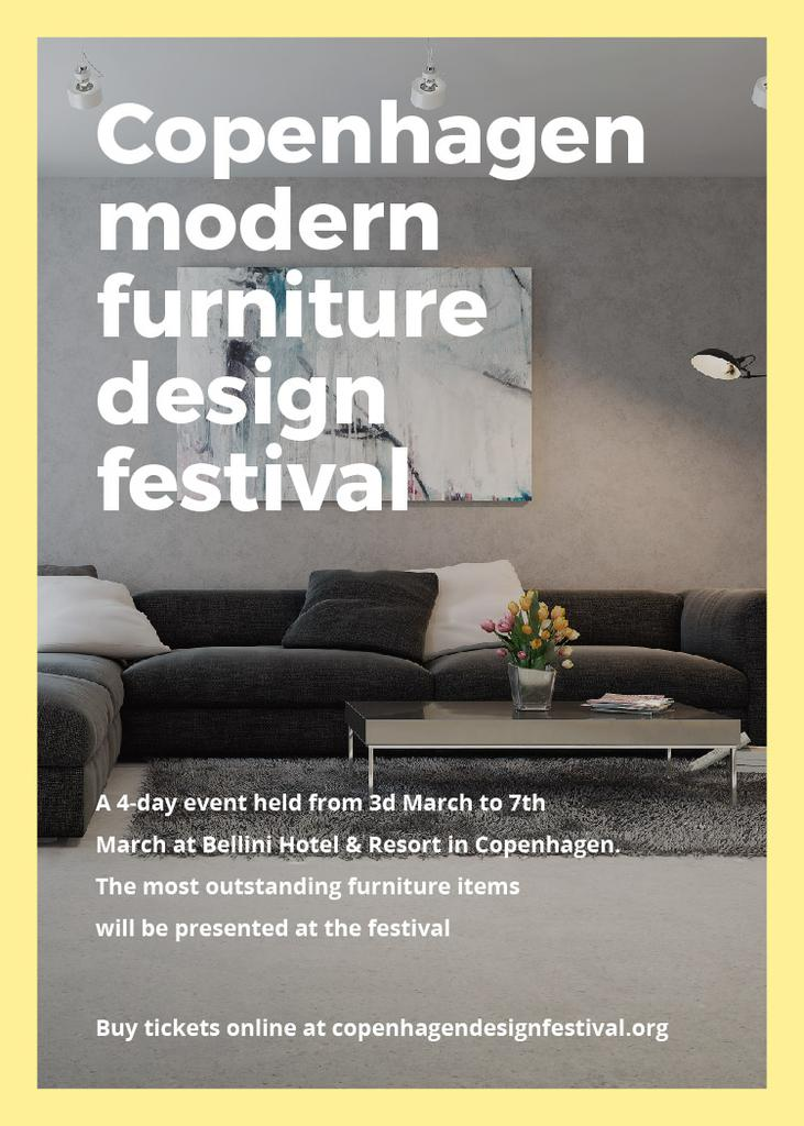 Furniture Design Festival Announcement Sofa in Grey | Flyer Template — Crea un design