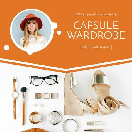 Capsule Wardrobe Flat Lay in Beige Animated Post Modelo de Design