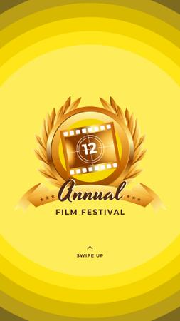 Plantilla de diseño de Film Festival golden frame Instagram Story