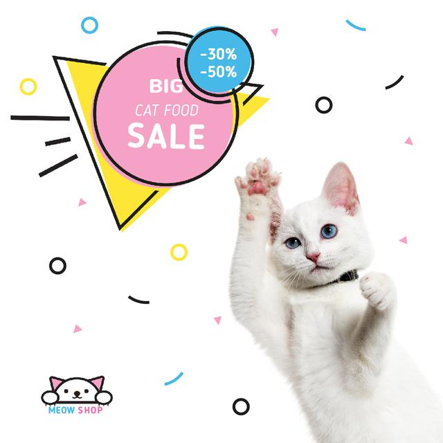 Designvorlage Special Pet Shop Sale with Cute White Jumping Cat für Animated Post