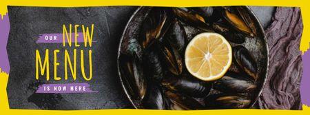Plantilla de diseño de Mussels served with lemon Facebook cover