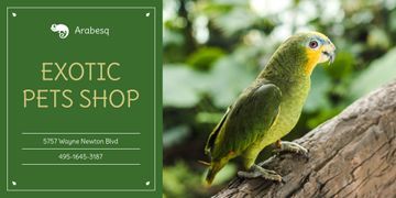 Pet Shop Ad with Cute Green Parrot
