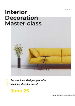 Ontwerpsjabloon van Poster van Masterclass of Interior decoration with Yellow Sofa