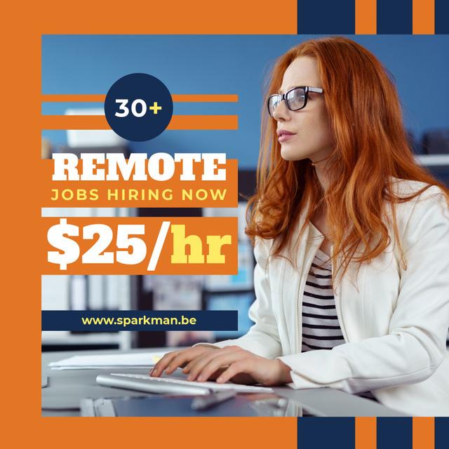 Career Tips Woman Working on Computer in Orange Instagram Modelo de Design