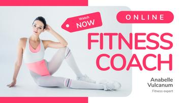Fitness Coach Blog Promotion Woman in Retro Sports Clothes