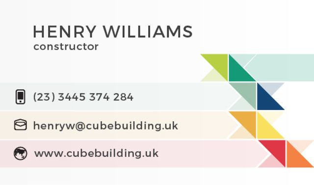 Constructor Services Offer with Colorful Triangles Business card Tasarım Şablonu