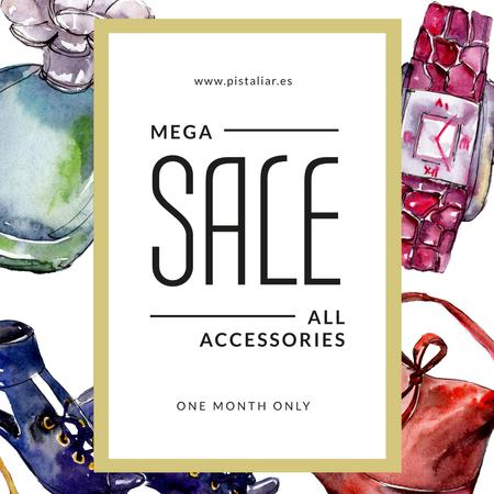 Accessories Sale Fashion Look Watercolor Illustration Instagram Modelo de Design