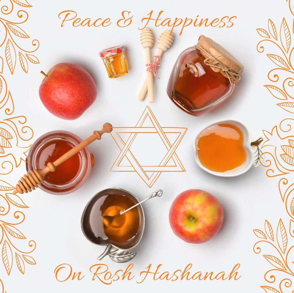 Rosh Hashanah apples with honey and Star of David — Créer un visuel