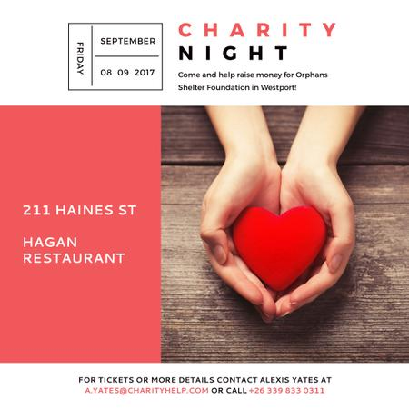 Charity event Hands holding Heart in Red Instagram AD – шаблон для дизайну