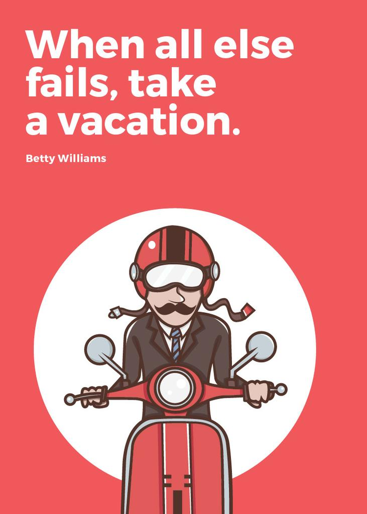Vacation Quote Man on Motorbike in Red — Modelo de projeto