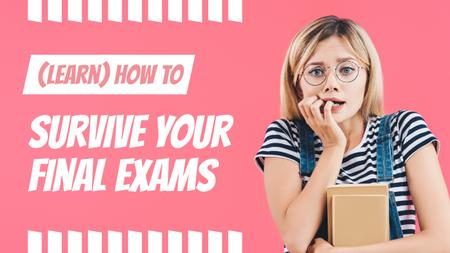 Exams Tips Nervous Girl with Books Youtube Thumbnail – шаблон для дизайну