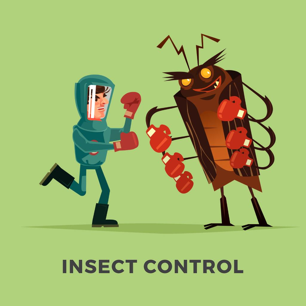 Exterminator fighting with cockroach — Create a Design