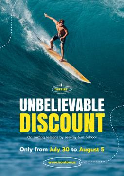 Surfing Lessons Offer with Man on Surfboard | Poster Template