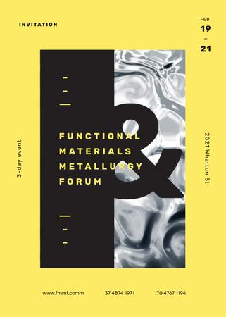 Metallurgy Forum on wavelike moving surface Invitationデザインテンプレート