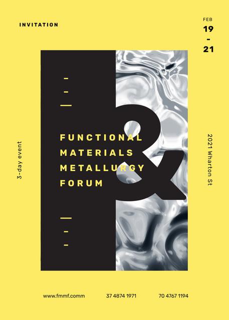 Metallurgy Forum on wavelike moving surface Invitation – шаблон для дизайну