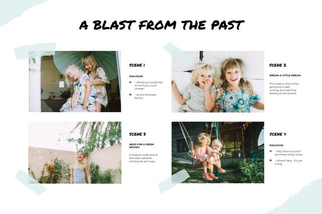 Funny Photos of two little Girls Storyboard Design Template