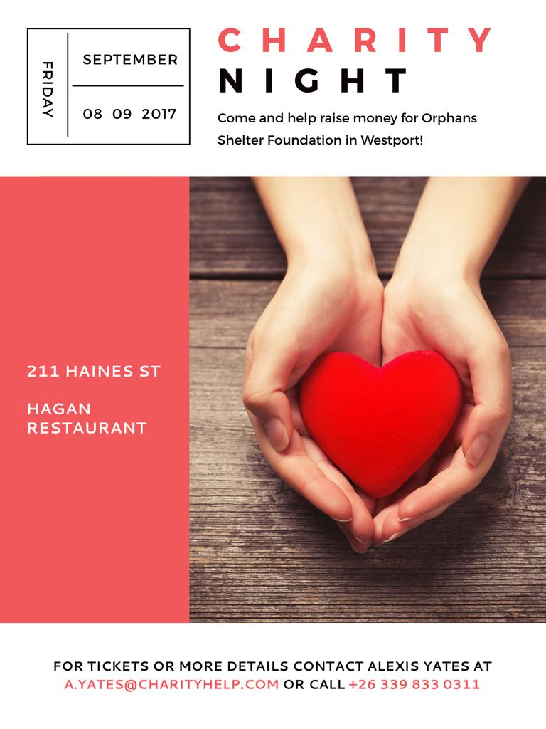 Ontwerpsjabloon van Poster US van Charity event Hands holding Heart in Red