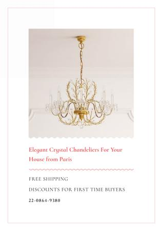 Elegant crystal chandeliers from Paris Poster Modelo de Design
