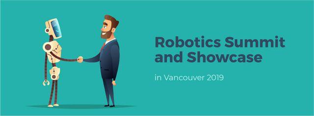 Modèle de visuel Robot and businessman shaking hands - Facebook Video cover