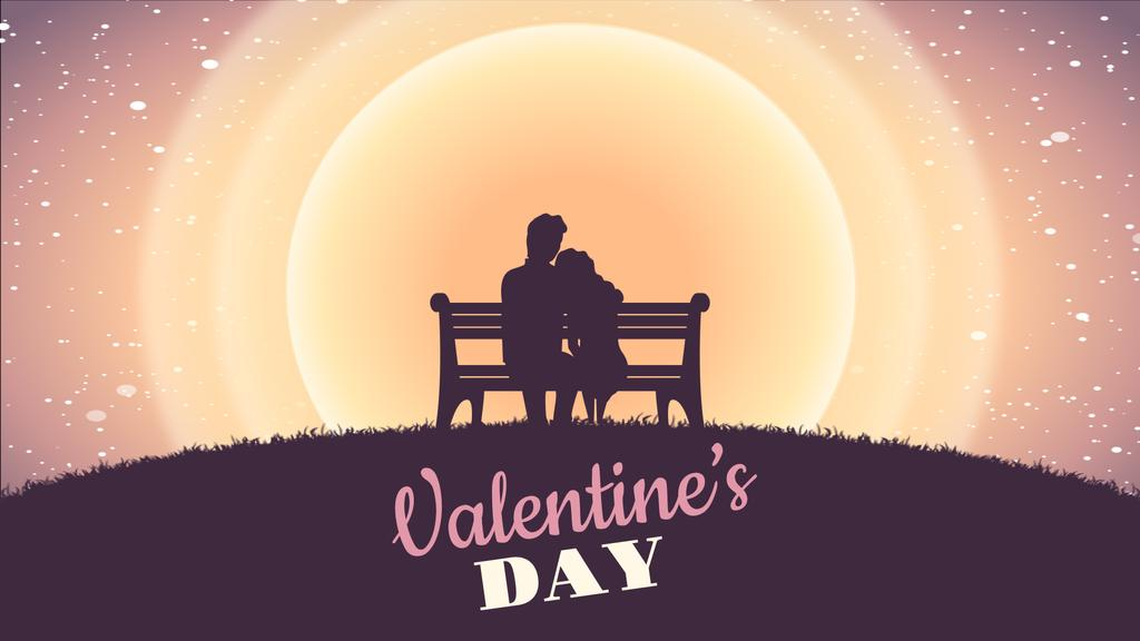 Couple on a bench on Valentine's Day — Crear un diseño
