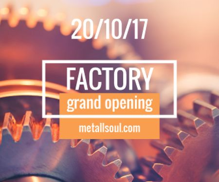 Factory Opening Announcement Mechanism Cogwheels Large Rectangle Modelo de Design
