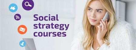 Plantilla de diseño de Social Media Course Woman with Laptop and Smartphone Facebook cover