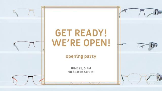 Glasses Store Opening Announcement FB event cover Modelo de Design