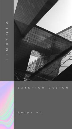 Designvorlage Exterior Design Offer with modern glass Building für Instagram Story