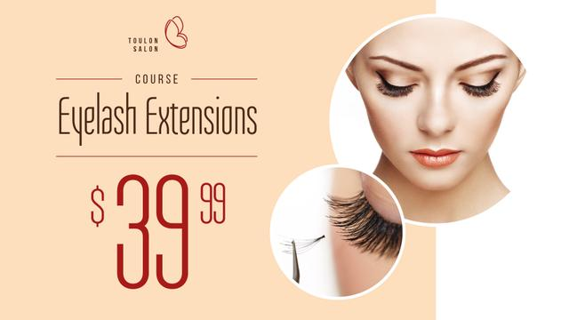 Template di design Eyelash Extensions Offer with Tender Woman FB event cover
