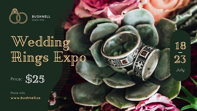 Wedding Offer Rings on Flower FB event cover Design Template