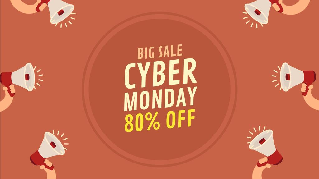Cyber Monday Sale Announcement Megaphones in Red | Full Hd Video Template — Створити дизайн
