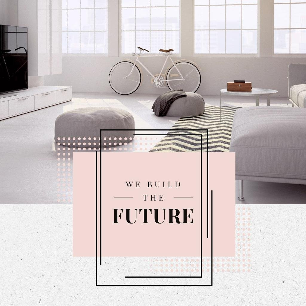 Cozy Home Interior Design in White | Square Video Template — Crear un diseño