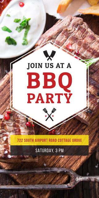 Plantilla de diseño de BBQ Party Invitation with Grilled Steak Graphic