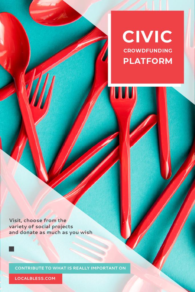 Crowdfunding Platform with Red Plastic Tableware — Modelo de projeto