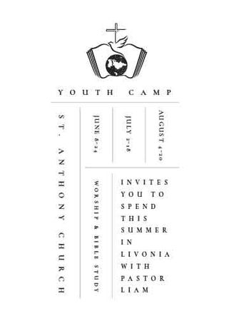 Youth religion camp Promotion in white Invitation Modelo de Design