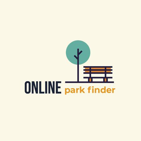 Plantilla de diseño de Park Locations Guide Bench Icon Logo
