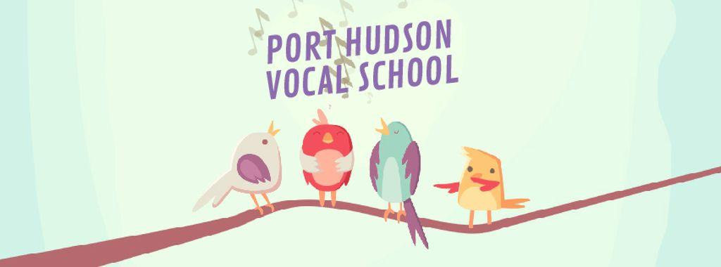 Vocal School Ad Birds Signing on Tree Branch — Modelo de projeto
