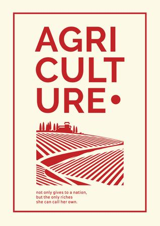 Designvorlage Agricultural Ad with field illustration für Poster